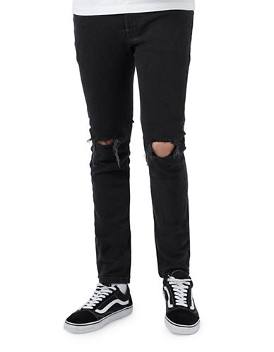 Topman Washed Ripped Stretch Skinny Jeans-BLACK-30
