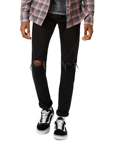 Topman Freeway Stretch Slim Ripped Jeans-BLACK-28 Short