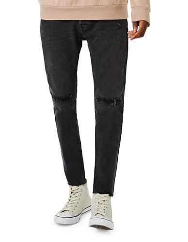 Topman Westbrook Ripped Cropped Stretch Skinny Jeans-BLACK-34