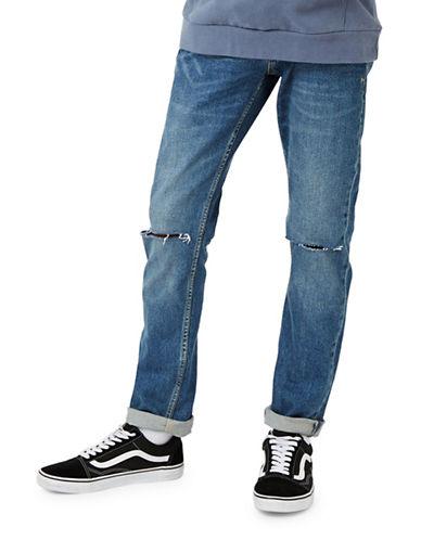 Topman Ripped Stretch Slim Jeans-DARK BLUE-32