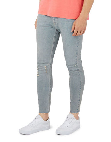 Topman Ripped Stretch Skinny Jeans-BLUE-36 Long