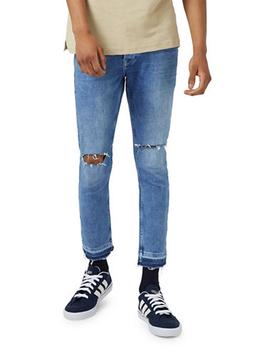 Topman Ripped Raw Edge Spray-On Skinny Jeans-BLUE-28 Short
