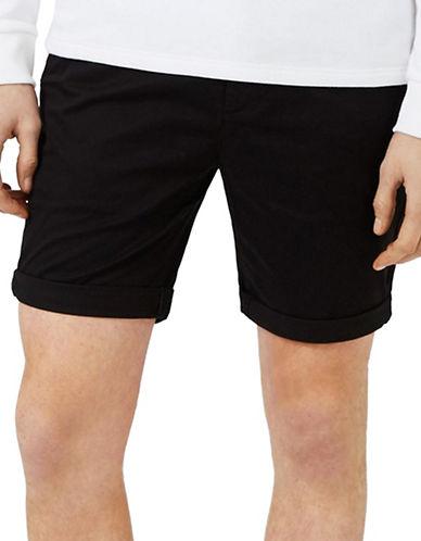 Topman Stretch Skinny Chino Shorts-BLACK-36