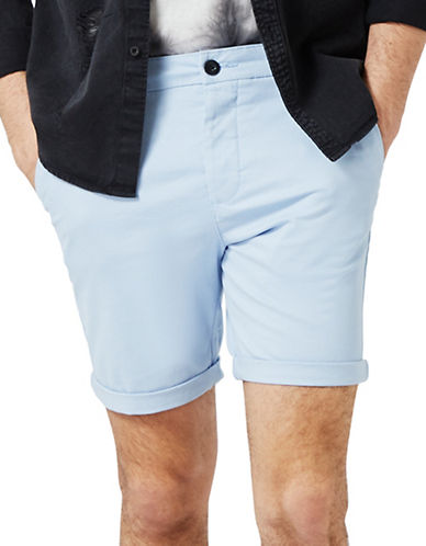 Topman Owen Stretch Skinny Chino Shorts-LIGHT BLUE-36
