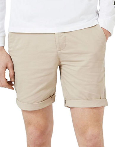 Topman Owen Stretch Skinny Chino Shorts-STONE-30