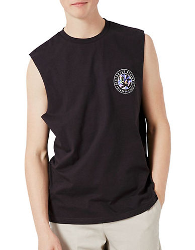 Topman Blurred Lined Oversized Tank Top-BLACK-Large 89244457_BLACK_Large