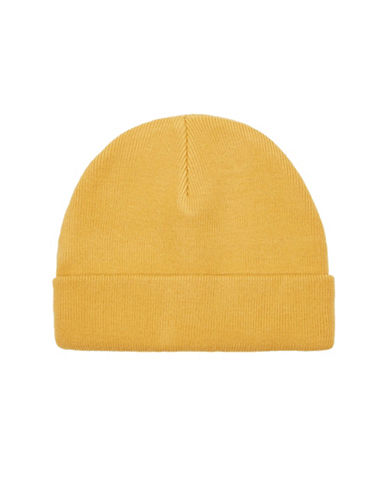 Topman Pale Mustard Beanie-YELLOW-One Size