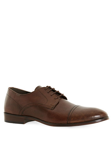 Image of Topman Leather Smart Toecap Derby Shoes-BROWN-42