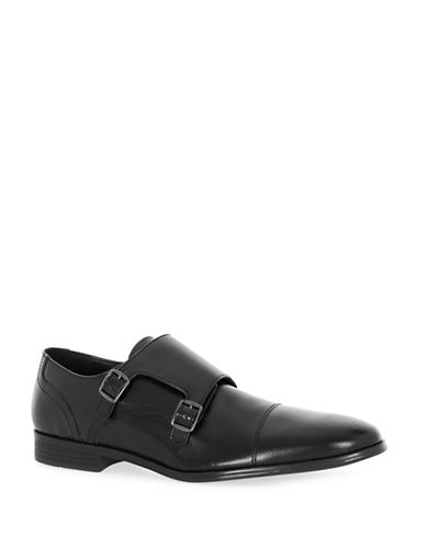 Topman Mercy Leather Monk Strap Shoes-BLACK-41