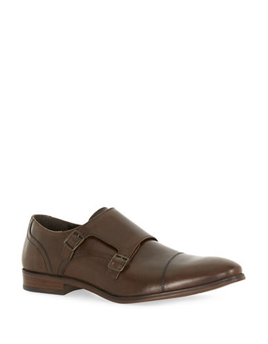 Topman Mercy Leather Monk Strap Shoes-BROWN-44