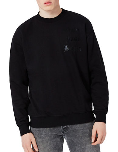 Topman Just Begun Printed Sweatshirt-BLACK-Medium 89195847_BLACK_Medium