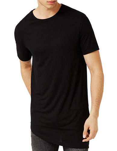 Topman Asymmetric Longline T-Shirt-BLACK-Small 88974788_BLACK_Small