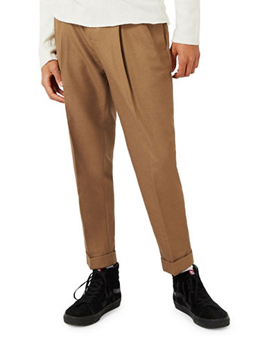 Topman Pleat Tapered Trousers-LIGHT BROWN-36