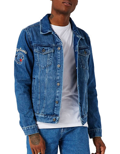 Topman Embroidered Denim Jacket-BLUE-X-Large 89280942_BLUE_X-Large