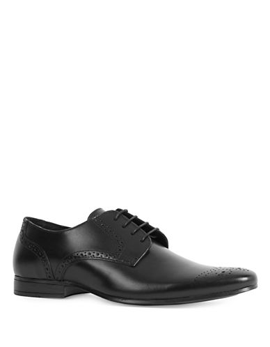 Topman Breeze Leather Derby Shoes-BLACK-44