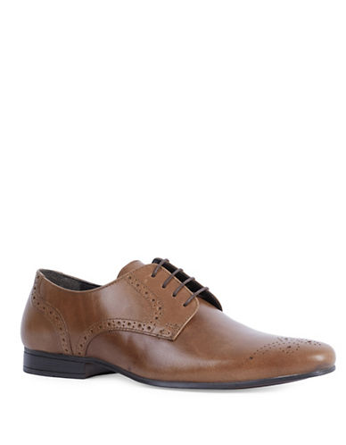Topman Breeze Leather Derby Shoes-BROWN-42