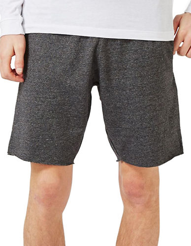 Topman Salt and Pepper Jersey Shorts-GREY-Large