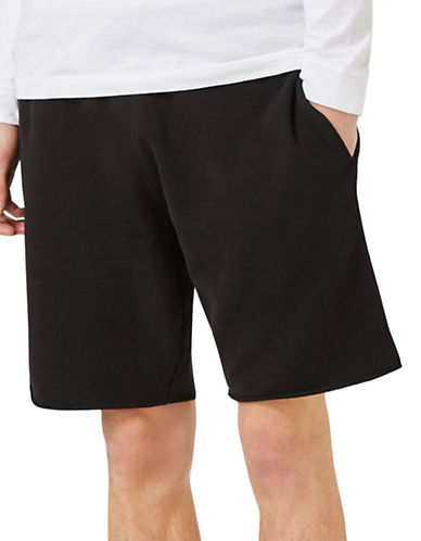 Topman Lamar Raw Hem Jersey Shorts-BLACK-Small
