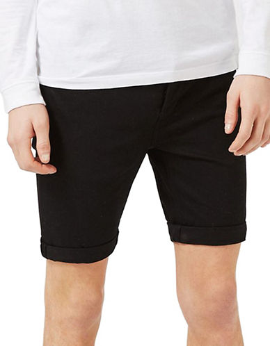 Topman Stretch Skinny Denim Shorts-BLACK-34