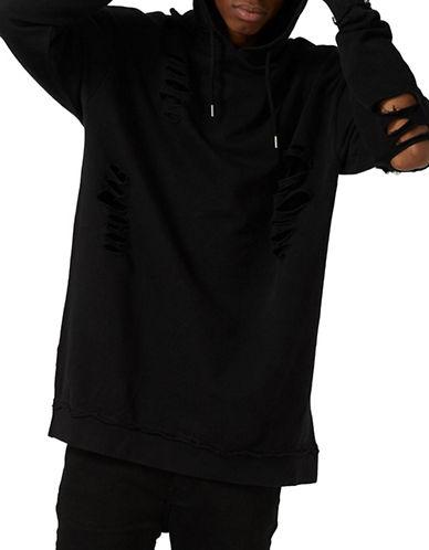Topman Super Ripped Oversized Hoodie-BLACK-X-Small 88995622_BLACK_X-Small