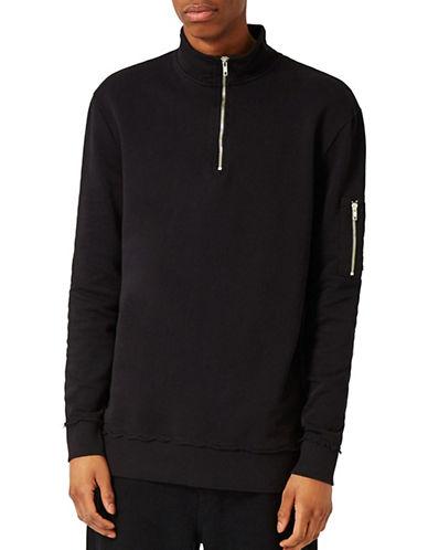 Topman MA1 Zip Neck Sweatshirt-BLACK-Small