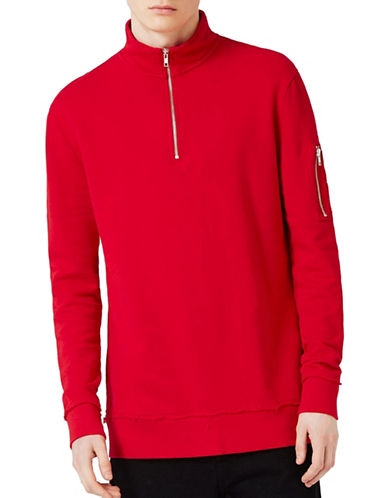 Topman MA1 Zip Neck Sweatshirt-RED-Small 89137221_RED_Small