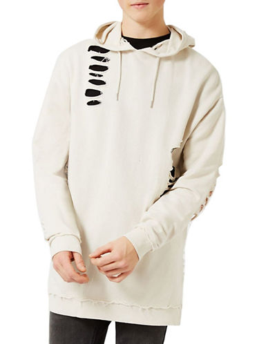 Topman Extreme Ripped Oversized Hoodie-WHITE-Medium 88989543_WHITE_Medium