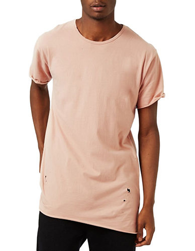 Topman Distressed Longline T-Shirt-PINK-Medium 89048931_PINK_Medium