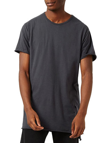 Topman Distressed Longline T-Shirt-CHARCOAL-X-Large 89048924_CHARCOAL_X-Large