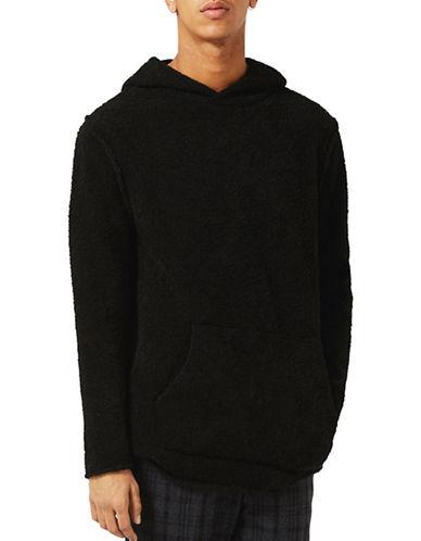 Topman Boucle Textured Slim Fit Hoodie-BLACK-X-Small 89008435_BLACK_X-Small