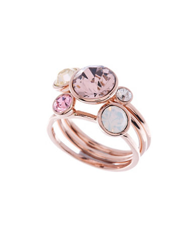 Ted Baker London Jackie Swarovski Crystal Jewel Three-Piece Stack Ring-ROSE GOLD-S/M