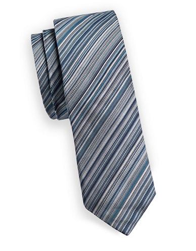 Paul Smith Multi-Stripe Slim Silk Tie-BLUE-One Size