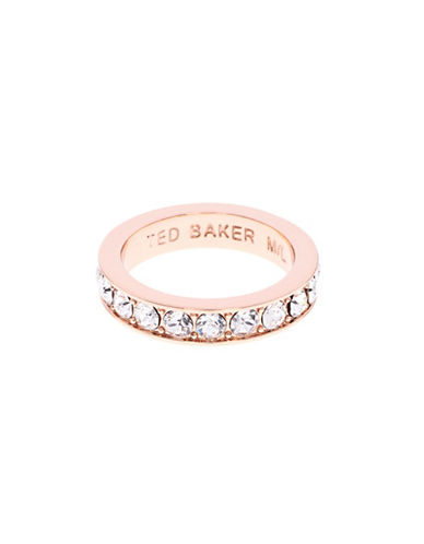Ted Baker London Claudie Narrow Swarovski Crystal Band Ring-ROSE GOLD-One Size