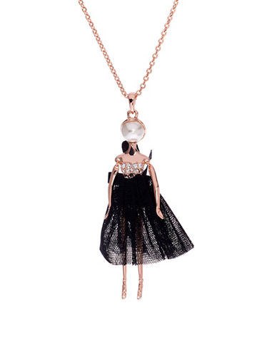 Ted Baker London Bijou Swarovski Crystal Ballerina Pendant Necklace-BLACK-One Size
