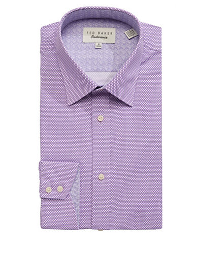 Ted Baker Endurance Endurance Timeless Tiled-Dot Dress Shirt-PURPLE-17-34/35