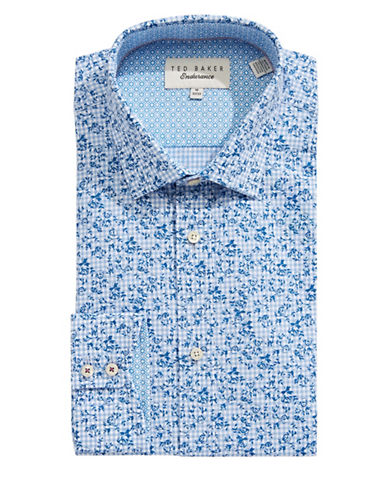 Ted Baker Endurance Endurance Sterling Floral Gingham Dress Shirt-BLUE-16-34/35