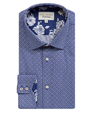 Ted Baker Endurance Endurance Diamond-Print Cotton Dress Shirt-NAVY-15.5-32/33
