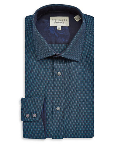 Ted Baker Endurance Endurance Sterling Plaid Shirt-NAVY-16.5-34/35