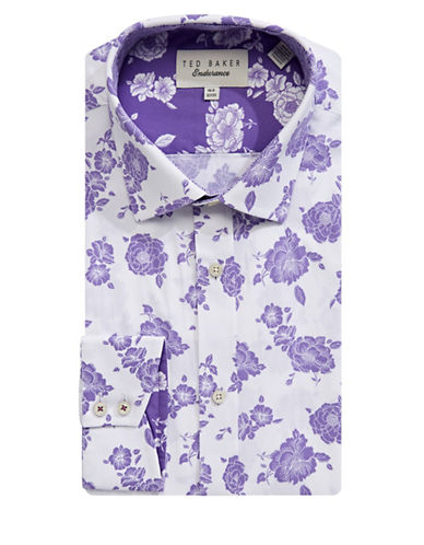 Ted Baker Endurance Endurance Floral Cotton Dress Shirt-PURPLE-17-34/35