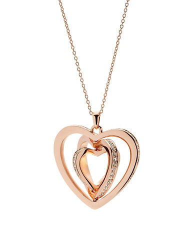 Ted Baker London Helinna Swarovski Crystal Spinning Heart Pendant Necklace-ROSE GOLD-One Size
