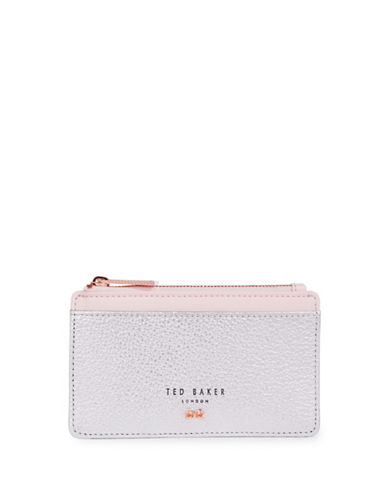 Ted Baker London Zip Leather Card Case-SILVER-One Size