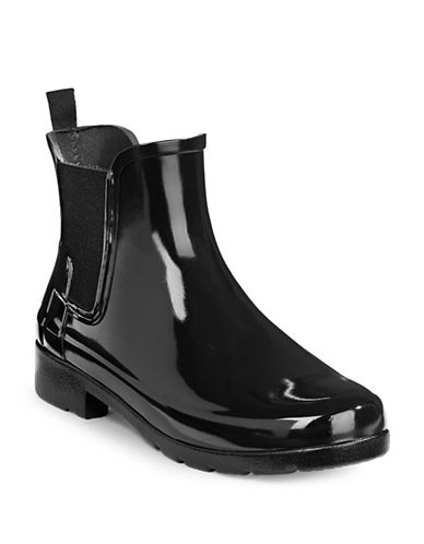 Hunter Chelsea Gloss Ankle Boots-BLACK-10
