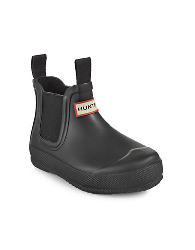 Hunter Kids Original Flat Sole Chelsea Boots-BLACK-11