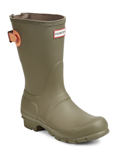 Hunter Original Short Matte Rain Boots with Adjustable Back-GREEN-9