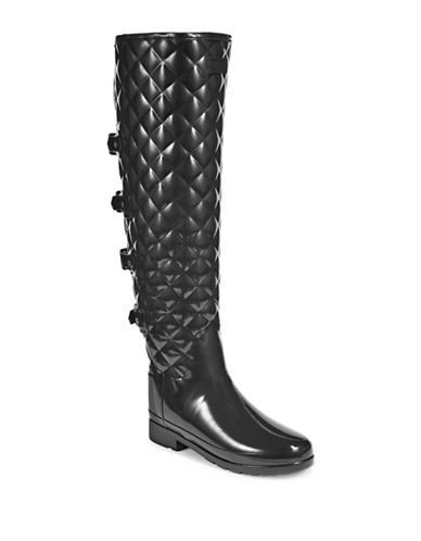 Hunter Quilted Buckle Over the Knee Boots-BLACK-7