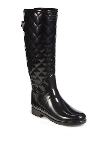 Hunter Womens Refined Gloss Quilt Tall Boots-BLACK-10 89493775_BLACK_10