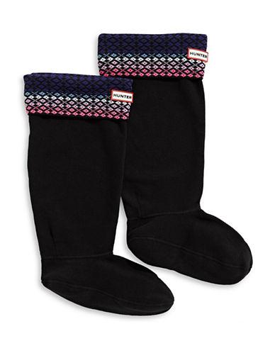 Hunter Womens Fair Isle Boot Socks-BLACK-Medium/Large