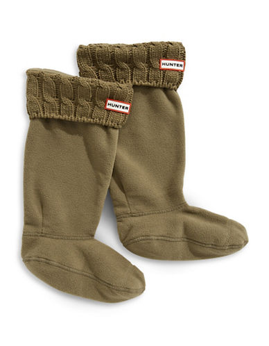 Hunter Cable-Knit Boot Socks-KHAKI-Medium