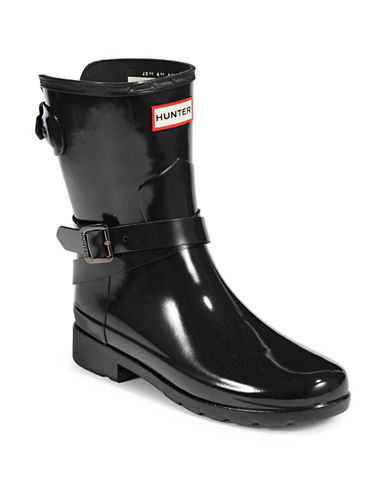 Hunter Adjustable Glossy Rain Boots-BLACK-7