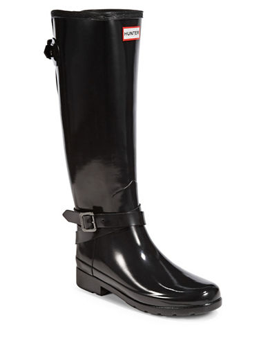 Hunter Original Adjustable Gloss Rain Boots-BLACK-8